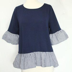 Anthropologie Pleione Shirt Small Ruffle Sleeve